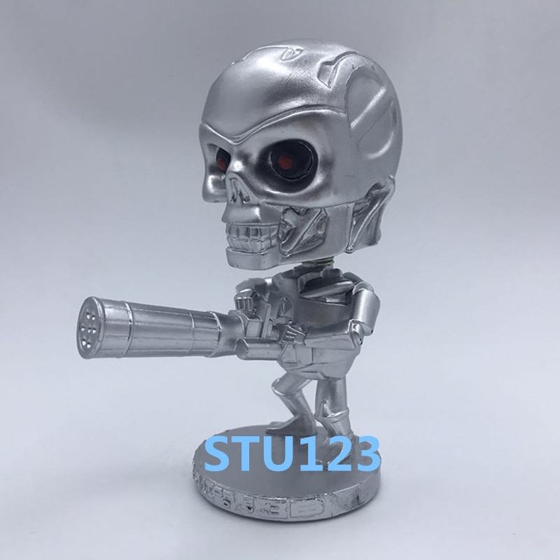 Película de ciencia ficción Terminator Genisys Robot T-800 versión Q cabeza temblorosa coche decoración MODELO DE figura de acción juguetes 10cm N727