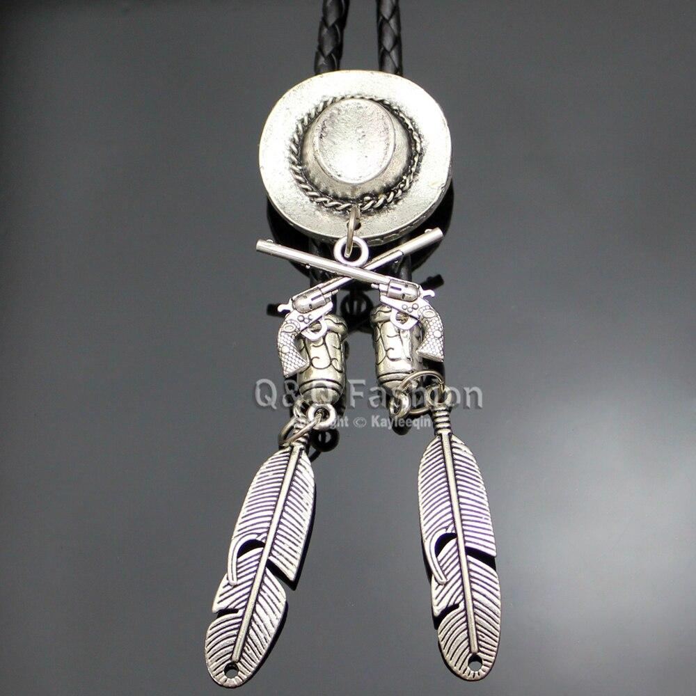 Vaquero de plata sombrero Stetson de Corss arma pistola rodeo occidental corbata baile buena joyería de calidad Unisex, envío gratis