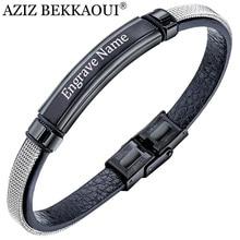 AZIZ BEKKAOUI Engrave Name Steel Mesh Leather Bracelet for Men Black Punk Stainless Steel Cowhide Bracelets Jewelry Gift