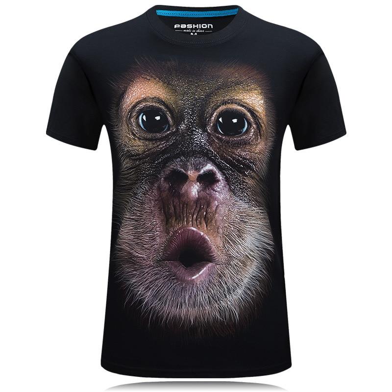 2020 summer Men's brand clothing O-Neck short sleeve animal T-shirt monkey/lion 3D Digital Printed T shirt Homme large size 5xl