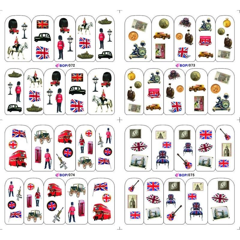 4 paquetes/lote bandera británica soldado guitarra POP tatuajes de uñas pegatina agua pegatinas manicura BOP072-075