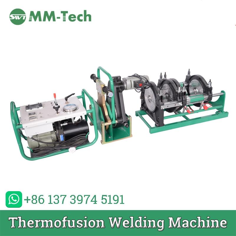 50,63, 75,90, 110.125.140.160mm máquina de soldadura por fusión a tope para tubería hdpe