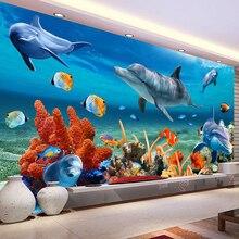 Papier peint Mural 3D personnalisé   Papier peint pour enfants, poisson dauphin sous-marin, mur Aquarium, décor de fond de la chambre, chambre de literie pour enfants