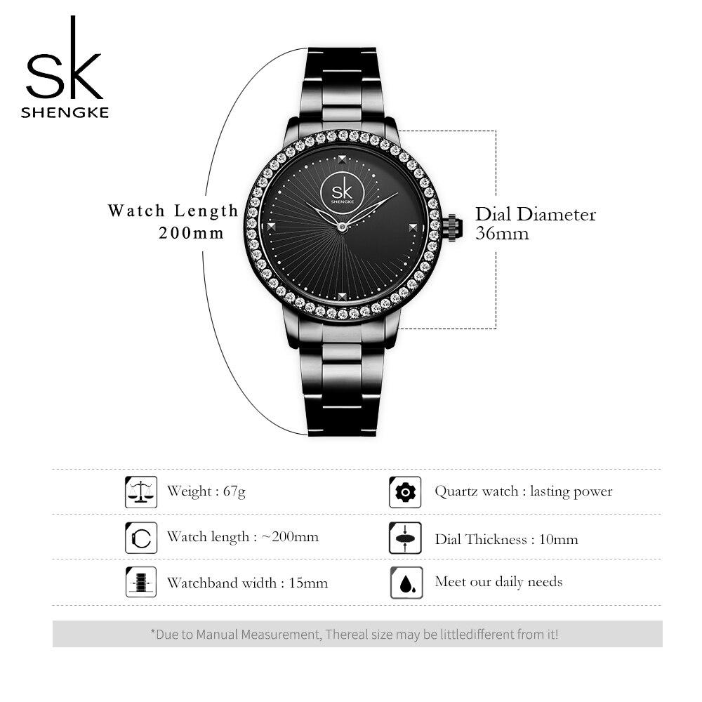 Shengke Black Watch Women Quartz Watches Ladies Top Brand Crystal Luxury Female Wrist Watch Girl Clock Relogio Feminino enlarge