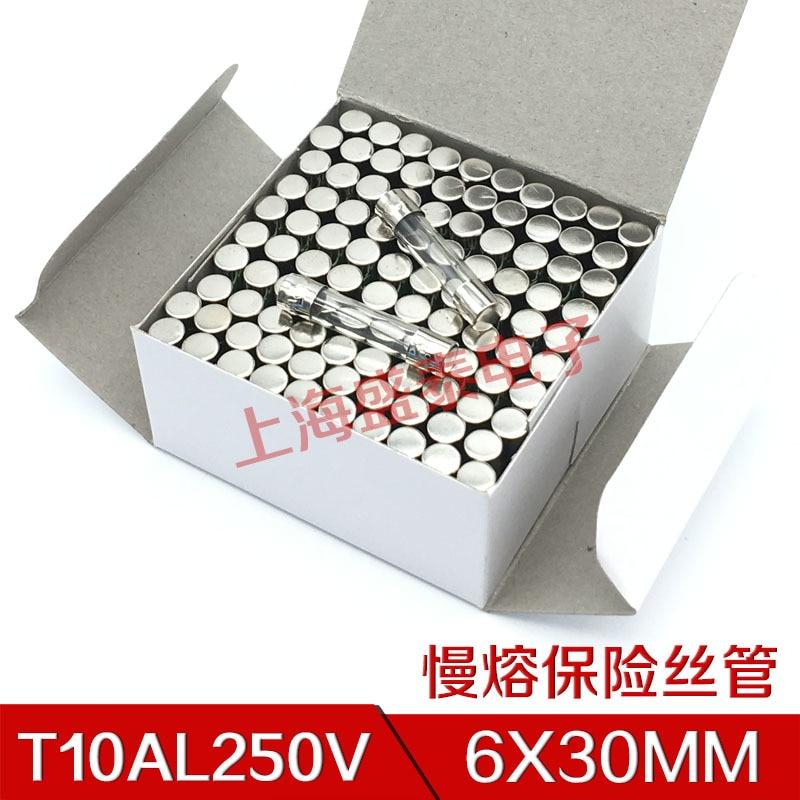 T10AL250V Slow Melt Fuse 6X30 T10A250V Insurance Tube T10A 250V 1 Box 18 Element