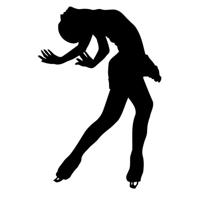 10,8 cm * 15,9 cm deporte patinaje chica vinilo Car Styling Decor pegatinas adhesivos negro/plata S3-6445