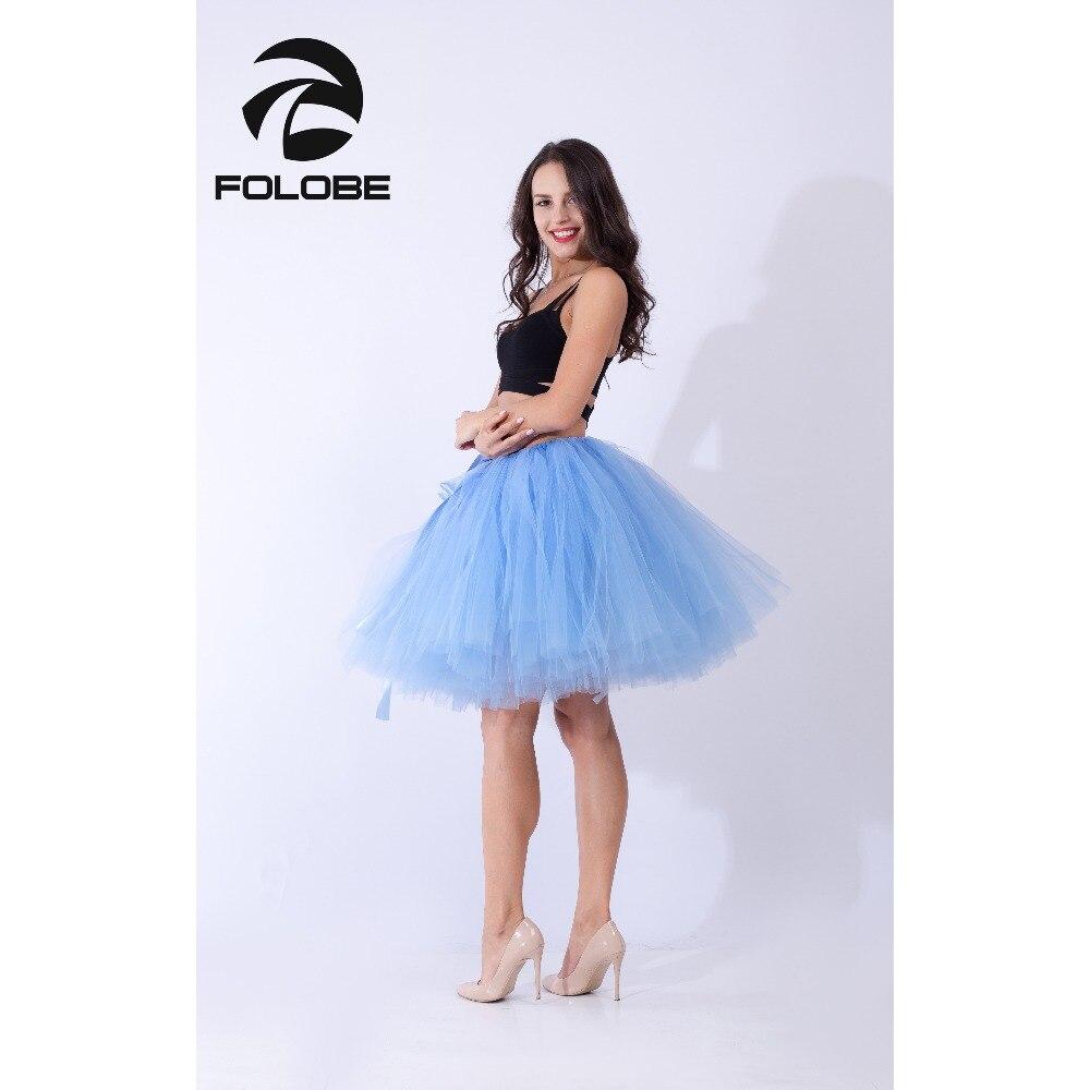 FOLOBE Lake Blue Handmade Midi Tulle Skirt  Tutu Skirts Women Ball Gown Party Petticoat TT010