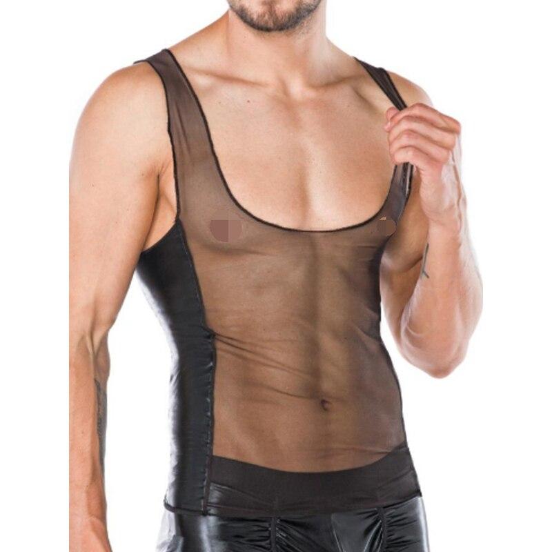 Sexy gótico para hombre camisetas sin mangas de malla de cuero falso fetiche Gay sin mangas para hombre divertido exótico Fitness transparente chaleco Clubwear XXL