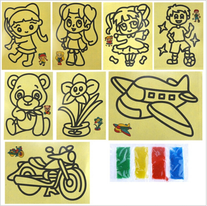10 pcs DIY Sand Painting Pictures Kid Classic Early Learning Education Toy Pattern Drawing Crafts Toys 11*9cm