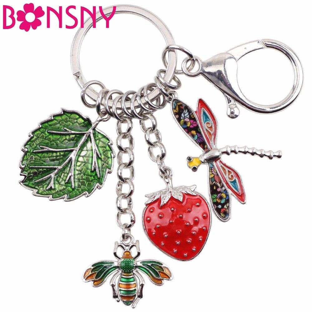 Bonsny de aleación de abeja de libélula de clave cadena y llaveros anillos joyería de la novedad para las mujeres las niñas bolso coche regalo de abalorios nuevo