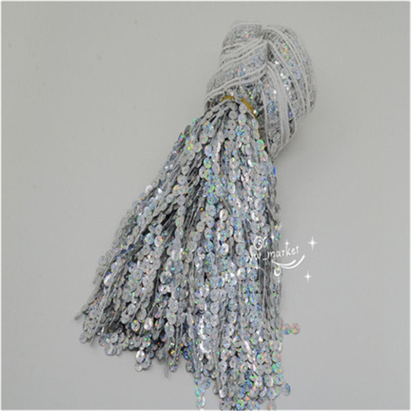 40cm Tassels trimming silver lasaer for samba Latin Dress Accessories   6.5 yard