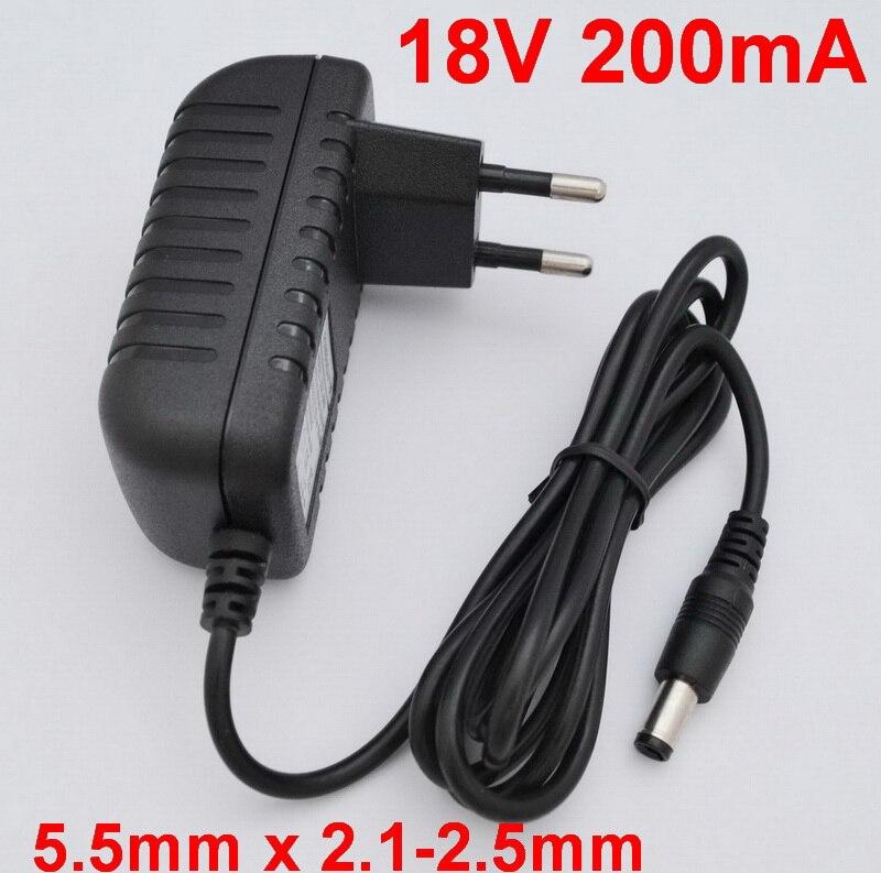 1PCS 18V 200mA High quality IC solutions  AC 100V-240V Converter Adapter DC 18V 0.2A Power Supply EU Plug 5.5mm x 2.1-2.5mm