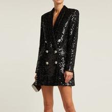High Quality Fashion 2019 Designer Blazer Women Double Lion Buttons Shawl Collar Glitter Sequined Long Runway Black Blazers