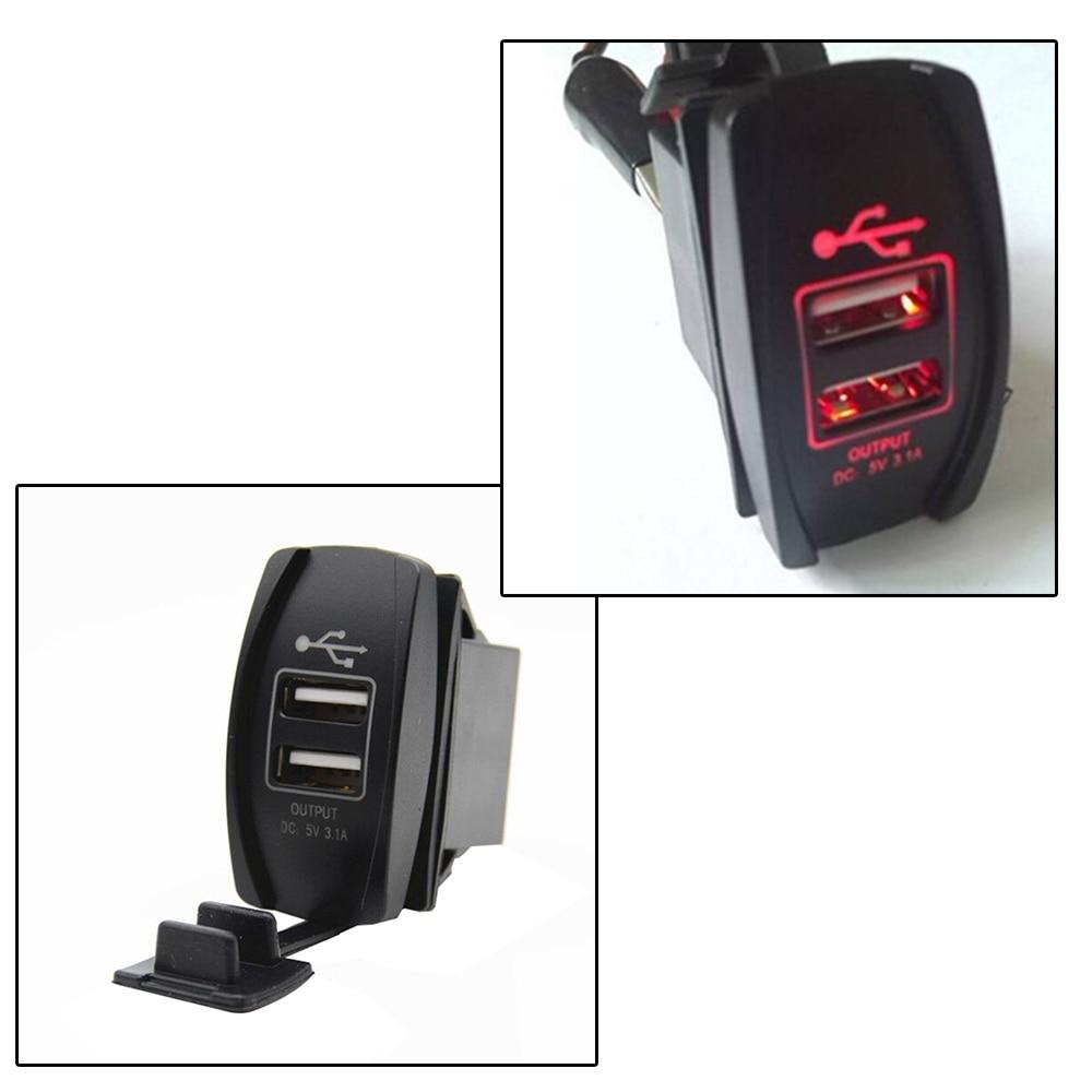 Cargador USB Dual para barco de coche, enchufe de carga, interruptor de carga ARB LED, Cargador USB Dual, 12-24V