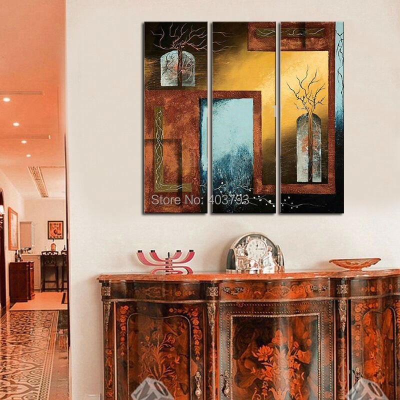 Peinture à lhuile moderne peinte à la main   Grand tableau 3 panneaux, porte et fenêtres, mur dart, photos murales pour le salon, la décoration de la maison