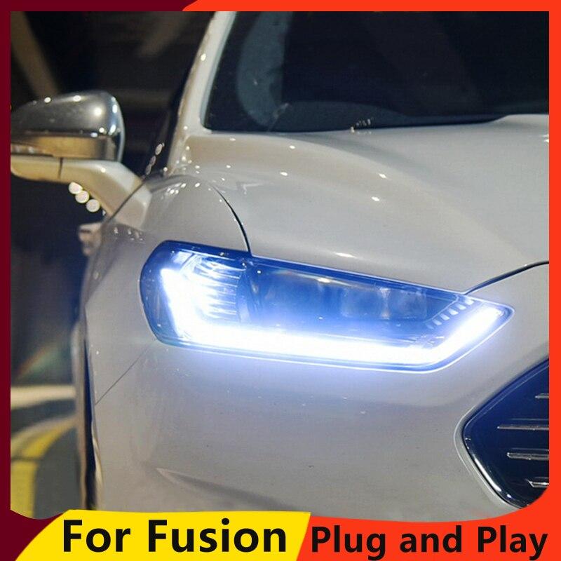 KOWELL, estilo de coche para Ford Mondeo 2013-2015, faro LED para Mondeo, faro delantero, luz LED de conducción diurna LED DRL bi-xenon HID