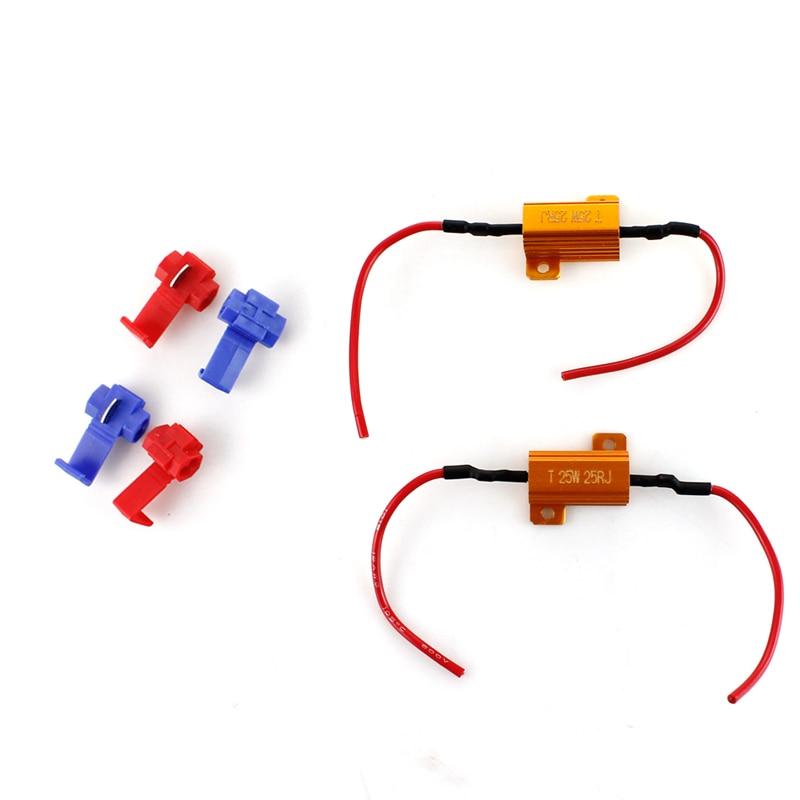 2x25W 25ohm Car Universal Canbus Load Resistor Protector For LED Turn Signal Light  Fix Error Fast Flash 7443 WY21W W21W 7440