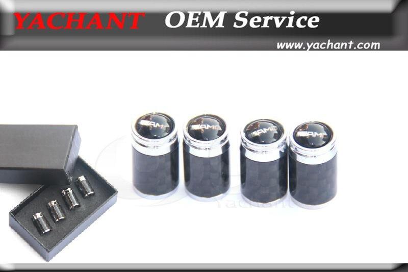 Accessories Universal Carbon Fiber Chrome Metal Car Wheel Tire Tyre Valve Cap Dustproof DustCaps for W204 W207 C63 AMG W218 W212