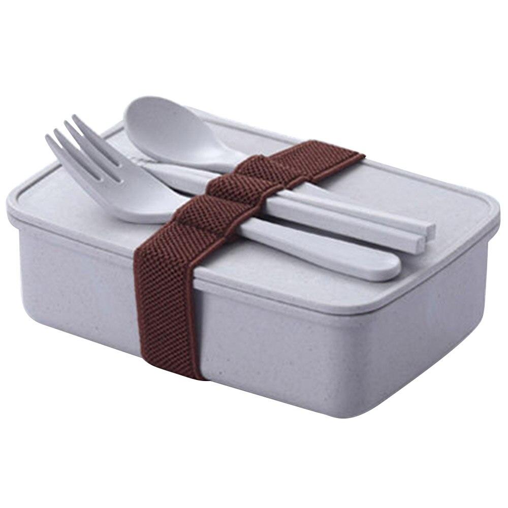 Портативный Ланч-бокс из бамбукового волокна контейнер для хранения еды микроволновая печь Bento коробки столовая посуда Ланчбокс 4 вида цветов