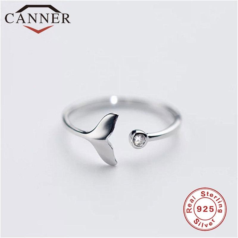 CANNER S925 plata esterlina ajustable cola de sirena abierto anillo Simple encantadora joyería de moda para mujeres niñas TW