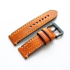 2020 Handmade Men 20MM 22MM 24MM Brown soft Calfskin Leather Strap, Retro Classic Watchband Belt For Pam Big Pilot Watch strap