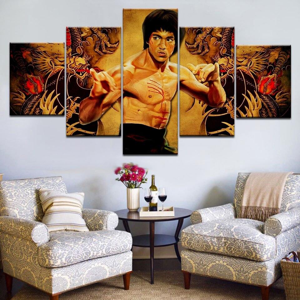5 paneles/piezas HD impreso Kung Fu Bruce figura de Lee pared pósteres impresos en lienzo arte pintura para la decoración del hogar sala de estar