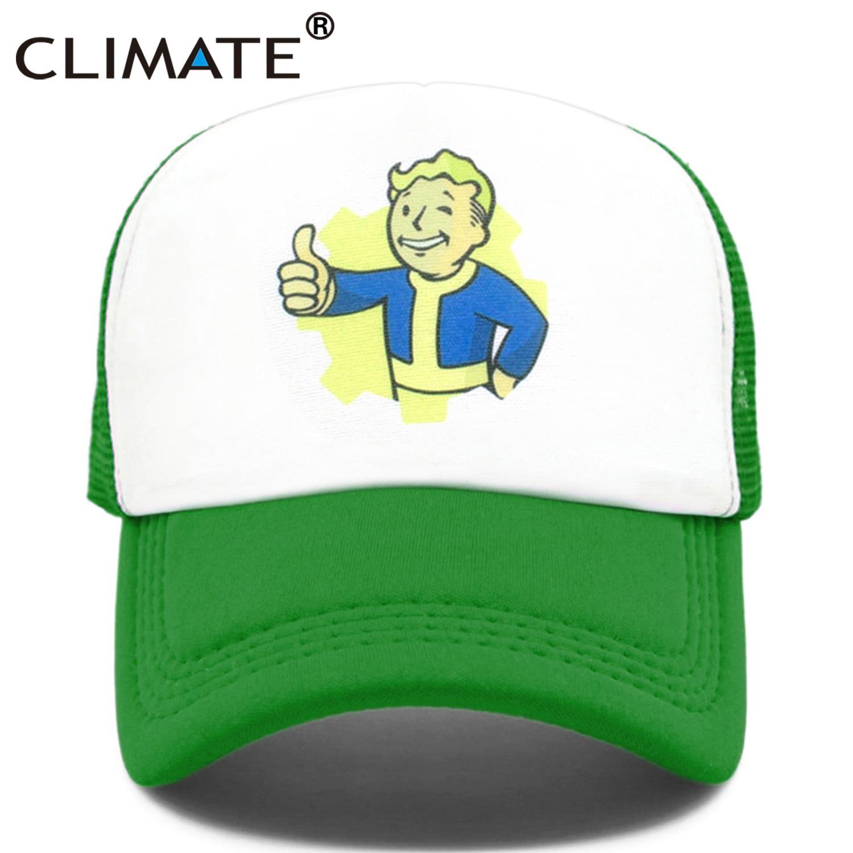 CLIMATE falout Trcuker Cap hombres Hat Nuka Cola Trcuker Cap bóveda gorra de niño hombres mujeres Funny Cool falout refugio malla Cap Hat