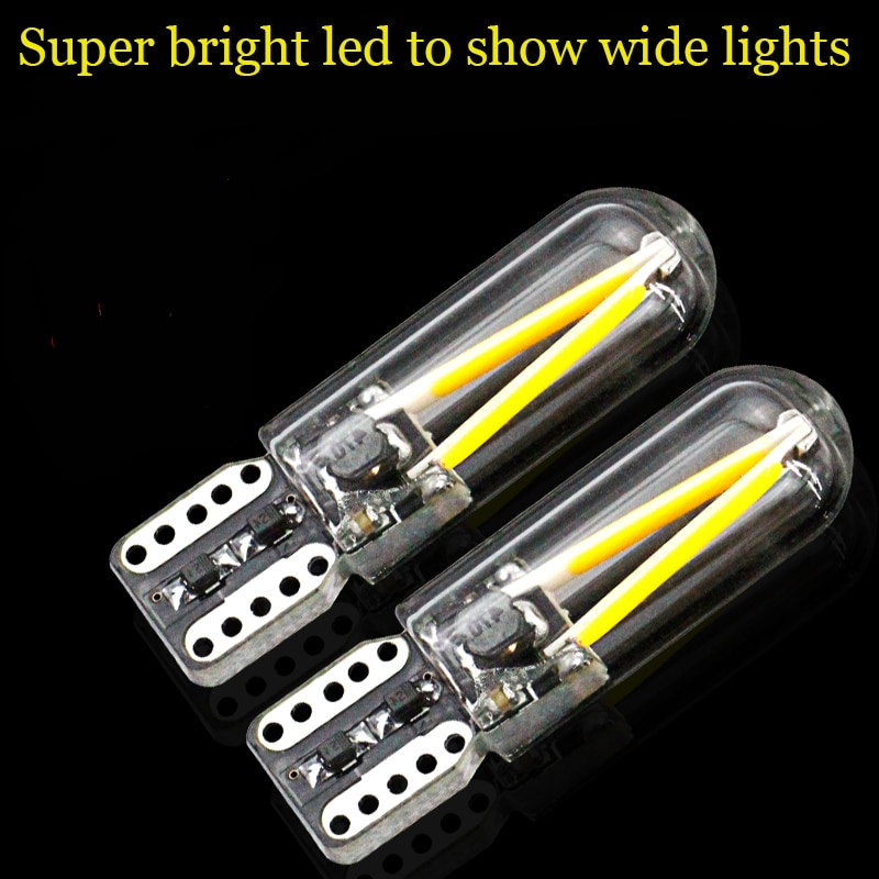 Супер яркий Автомобильный источник света, 2 шт., T10 LED, 12 В, 24 В, стеклянная крышка, COB лампа для очистки автомобиля, 194, 168, W5W, автомобильный Стайл...