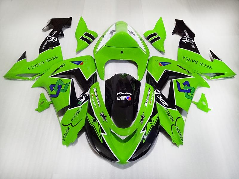 Mejora tu kit de carenados de carreras para KAWASAKI Ninja 2006 2007 ZX10R ABS kit de carenado de plástico 06 07 ZX 10R Verde Negro motocicletas