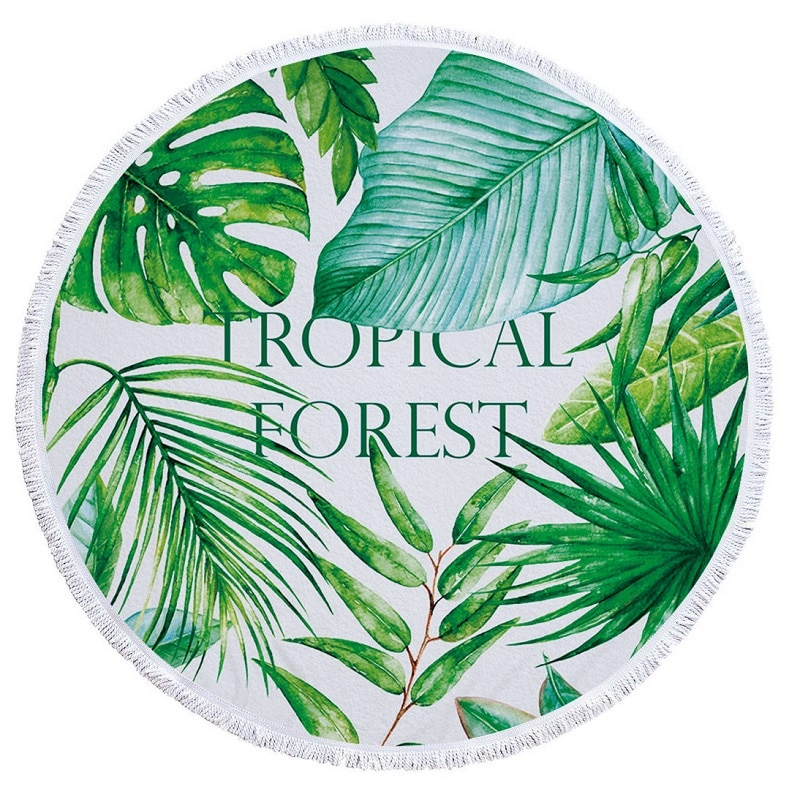 Tropical Plants Large Microfiber Round Beach Towel with Tassel Mandala Bath Towel Camping Yoga Mat Toalha De Banho 150CM YMBT79