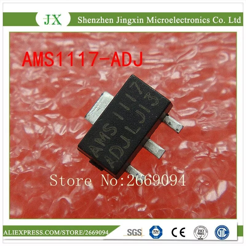 50 piezas AMS1117-ADJ SOT89 AMS1117 LM1117 1117 ADJ regulador de tensión SOT-89