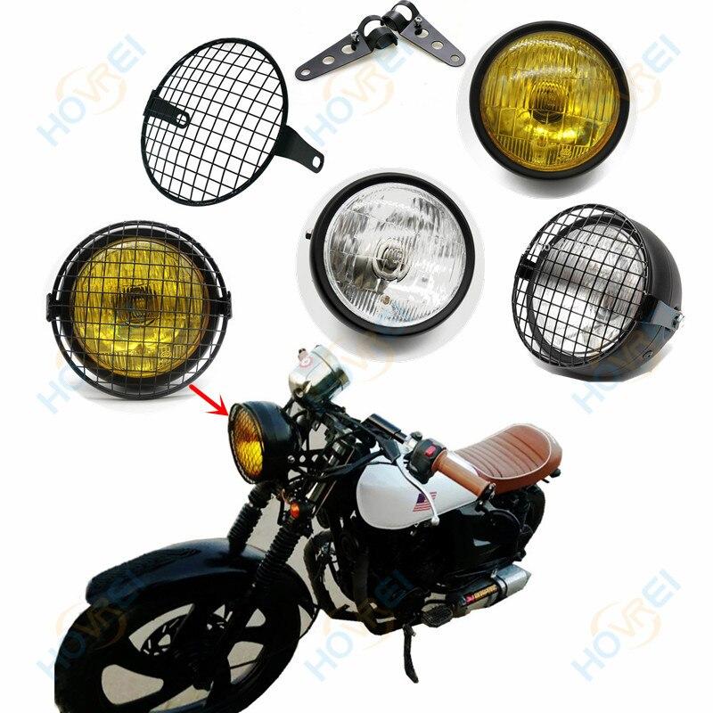 """6,5 """"faro delantero universal para motocicleta Retro 35W faro soporte de lámpara de malla de la parrilla cubierta máscara para CG125 GN125 Harley Cafe Racer"""
