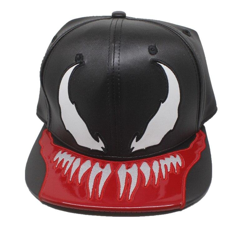 Comics Marvel Venom Spider-Man Hat Spring Summer Autumn and Winter Student Fashion Trend Leisure Hip-hop Hats Leather Black Caps