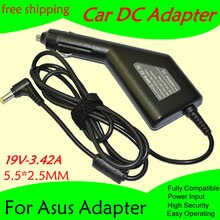 Freies verschiffen Hohe qualität DC Power Auto Adapter Ladegerät 19V 3.42A Für Laptop Asus 5,5*2,5 MM 65W Eingang DC11-15V max 10A