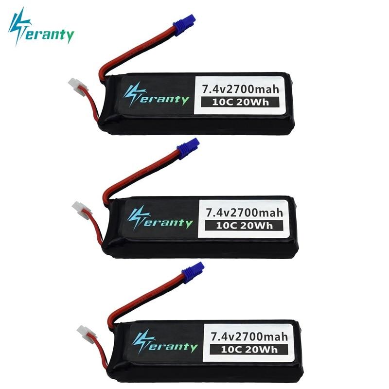 7.4V 2700mAh For Hubson H501W H501S H501C lipo battery 10C 20WH For RC Qaudcopter Drone Parts 2s 7.4 v Battery EC2 Plug 2/3/5pcs