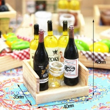 Juego de Mini botella copa de vino accesorios en miniatura para casa de muñecas 1/12 con caja modelo de bebidas de simulación juguetes para decoración de casa de muñecas