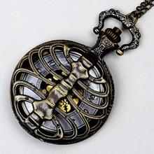 Bronze poli osseuse de la colonne vertébrale thoracique montre chaîne rétro mode quartz monture or cadran hommes cool décontracté cadeau chaîne de montre
