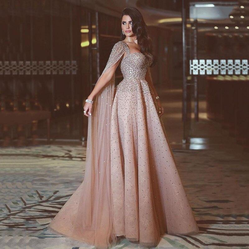 Luxo cristal longo vestidos de noite 2018 atraente frisado dubai árabe vestidos de baile feito sob encomenda médio oriente formal festa vestido
