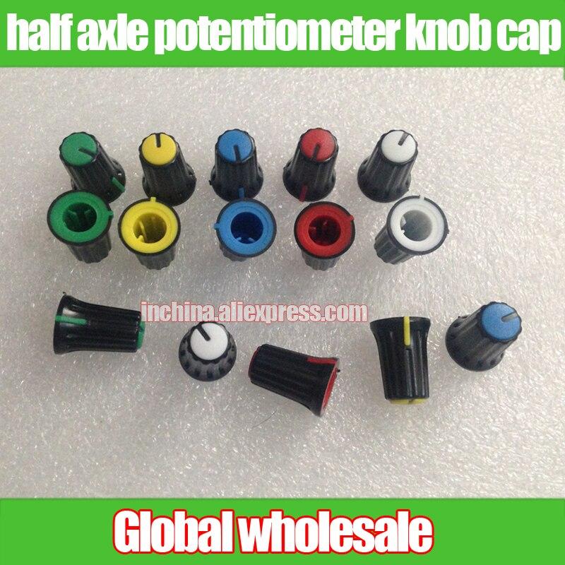 Tampa de potenciômetro de orifício, 60 peças, preta, meia eixo, botão/misturador, console, ajuste de volume de áudio, botão de ajuste, 270 graus