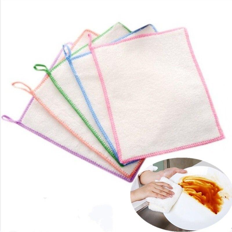 10 Uds. Paños de bambú antigrasa paño de limpieza de cocina toallas de lavado Magic Micro fibra limpieza trapos paño de cocina