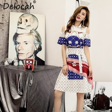 Delocah 2019 Women Spring Summer Vintage Dress Runway Fashion Short Sleeve Beading Sashes Elegant Plaid Printed Midi Dresses