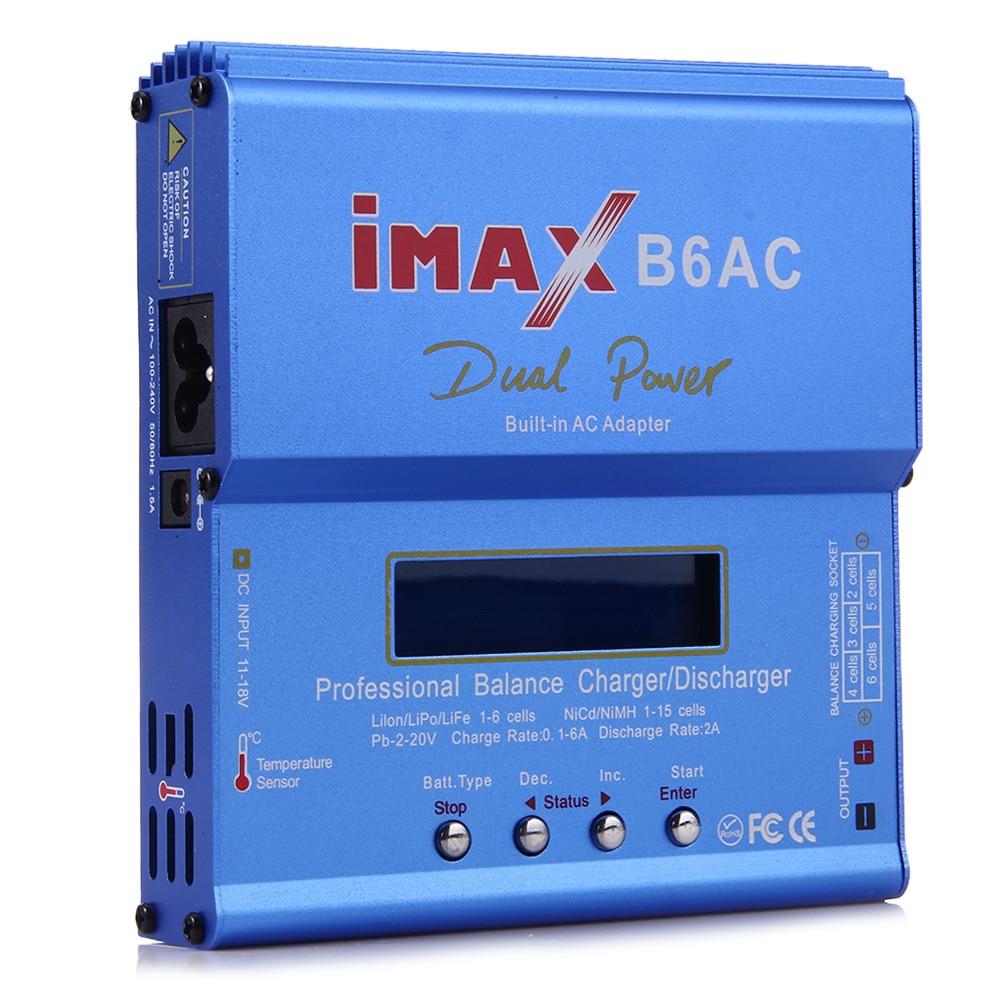 Chargeur de batterie IMAX B6AC RC, 80W, construit, pour batterie Lipo/Li-ion/LiFe/NiMh, avec écran LCD