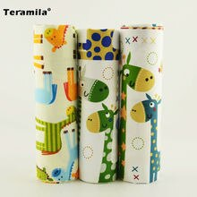 Teramila Cartoon Giraffe 3PCS Cotton Twill Fabric Home Textiles Arts and Crafts Scrapbooking Baby Clothes Bedding Tecido 40x50cm
