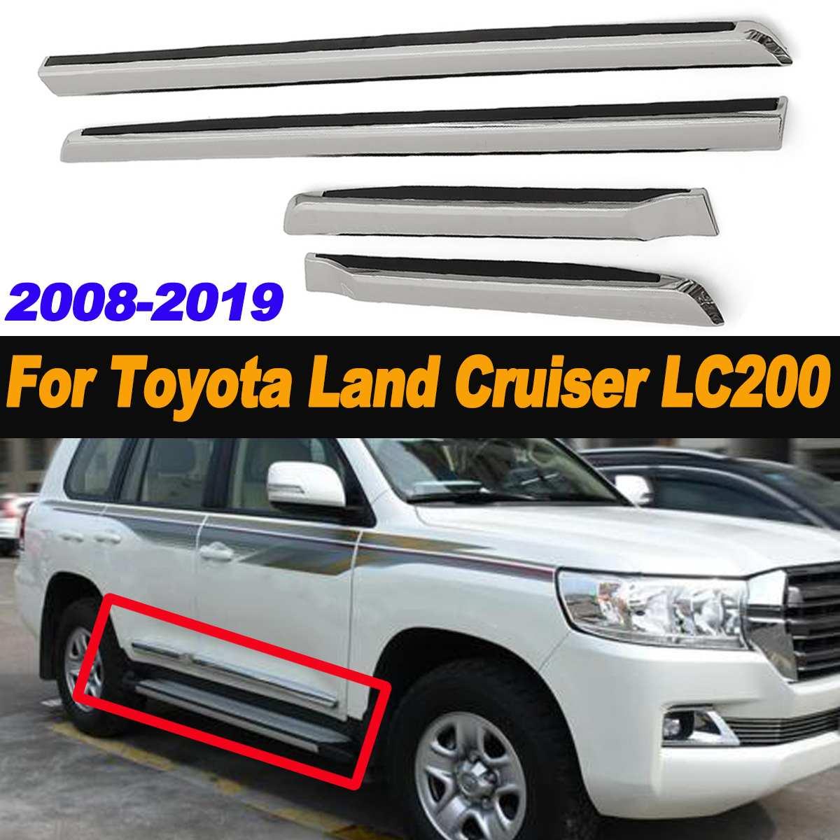4 Uds. Moldura lateral de puerta cromada ABS línea de carrocería para Toyota para Land Cruiser LC200 2008-2019 estilo cromado