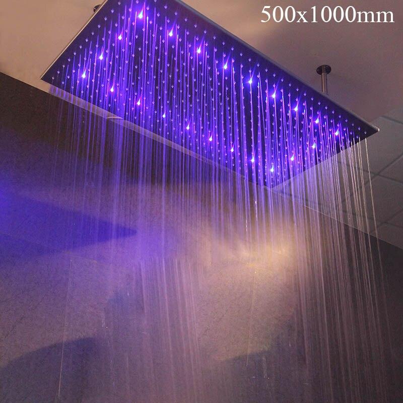 فائقة كبيرة الأمطار دش رئيس المقاوم للصدأ دش LED اللون المياه التحكم في درجة الحرارة اكسسوارات الحمام دش 1000*500 مللي متر