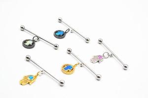 10pcs Free Shippment 14g Surgical Steel Hamsa Opalite Stone CZ Gems Industrial Ear Barbells Body Piercing Jewelry Ear Scaffold