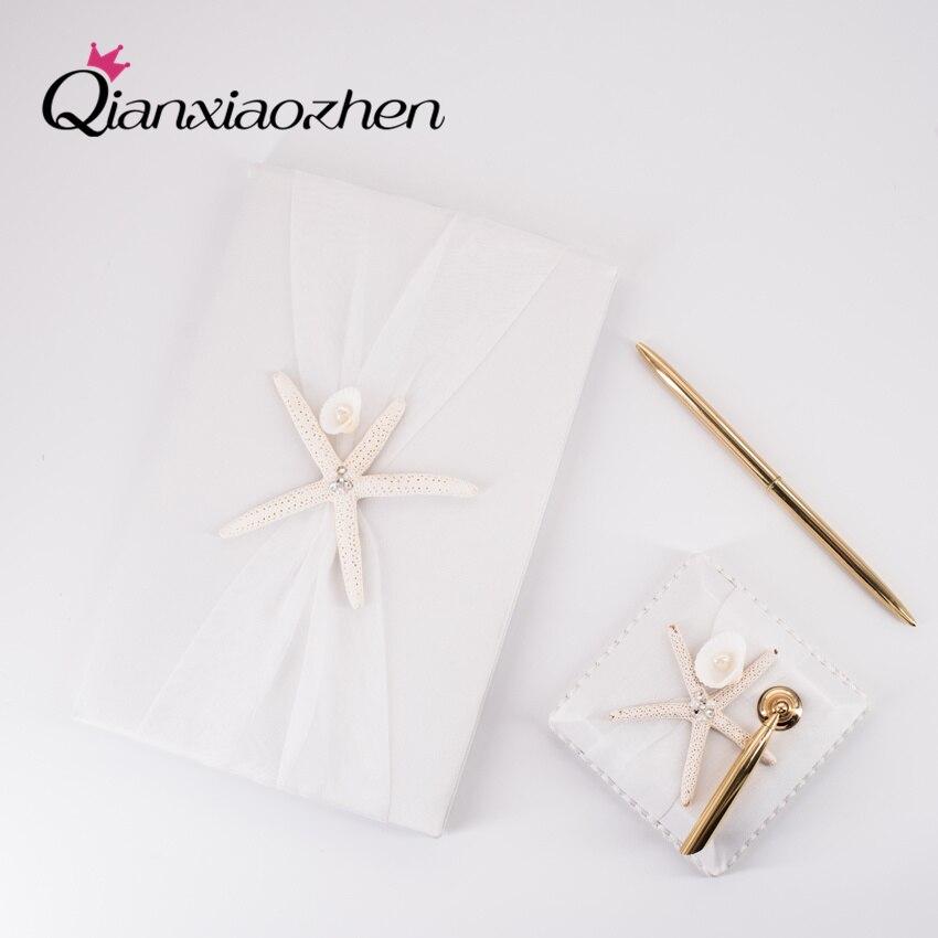 Qianxiaozhen-libro de visitas y bolígrafo de Boda, conjunto de libros de invitados,...