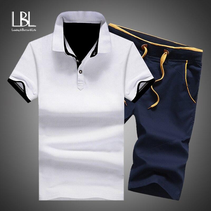 Herren Polo Shorts Sets Sommer Baumwolle Taste Polo Shirts Sets 2019 Herren Shorts Kleidung 2 Stück Set Trainingsanzug Elastische Taille shorts