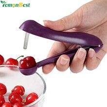 آلة يدوية لإزالة نواة بذور الفاكهة من البلاستيك تستخدم في المطبخ مصنوعة من أدوات الفاكهة بألوان عشوائية