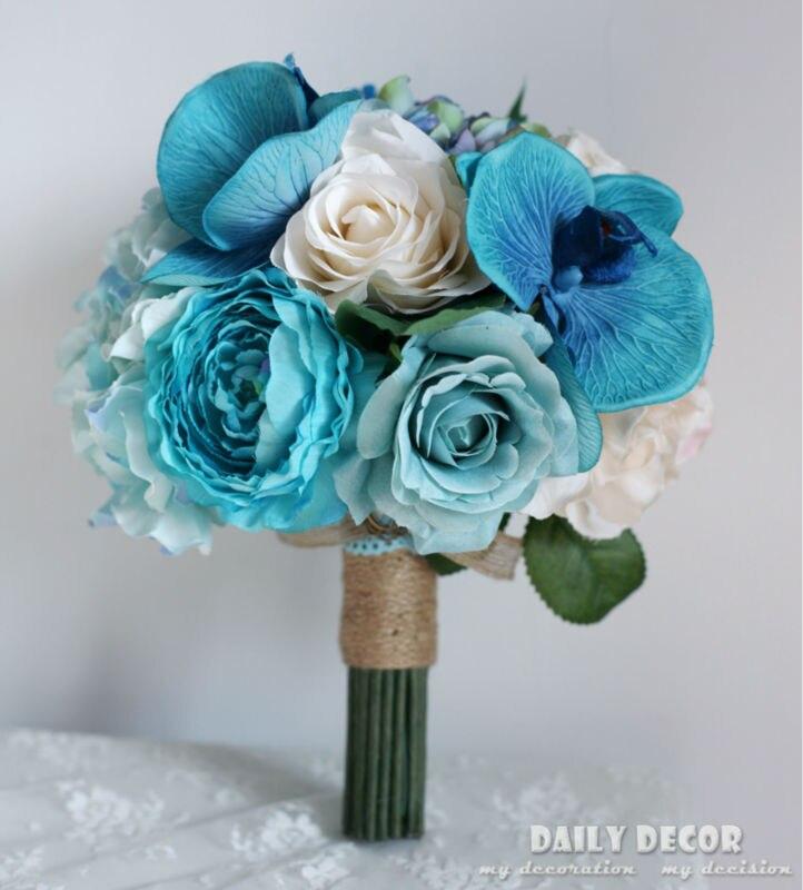 Azul Phalaenopsis Artificial Hydrangea Rose Berry bouquet de casamento da noiva do noivo boutonniere Pulso Buquê de noiva Segurando flores